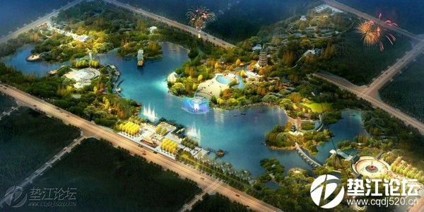 垫江县牡丹湖湿地公园建设进入园林景观建设阶段